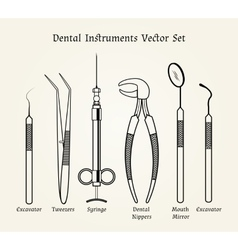 Vintage dentist tools Medical equipment in retro vector image vector image