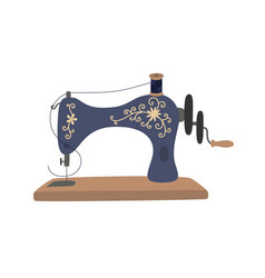 vintage sewing machine with blue spool thread vector image