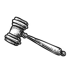 cartoon image of judge gavel icon law symbol vector image vector image