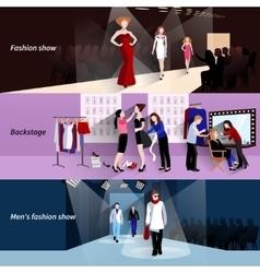 Fashion model catwalk banner set vector