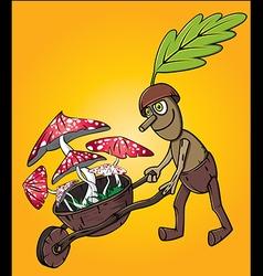 forest oak man picking up mushrooms vector image