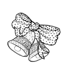 Hand drawn black and white bow and bellMerry vector image vector image