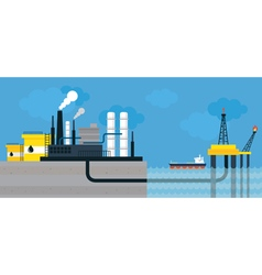 Oil refinery land and offshore vector