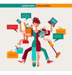 Super Mom - of multitasking mother vector image