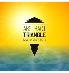Abstract yellow sunset with blue triangle field vector