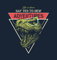 Adventure graphic with tyrannosaurus vector