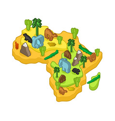 Africa map animal isometric style flora and fauna vector