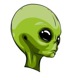 alien extraterrestrial green face mascot vector image