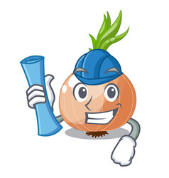 architect character fresh vegetable onion in the vector image