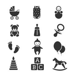 Baby kids icons set vector