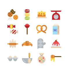 Bakery icon set flat icon collection vector