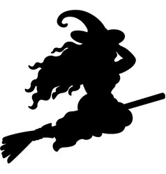 black silhouette of witch with long curly hair vector image