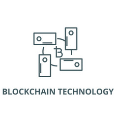 blockchain technology line icon vector image