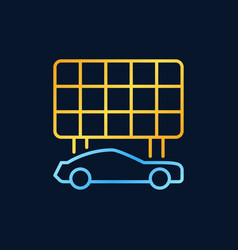 blue electric car with golden solar panel vector image
