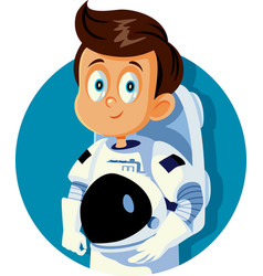 Boy dreaming becoming an astronaut cartoon vector