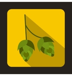 Branch of hops icon in flat style vector image