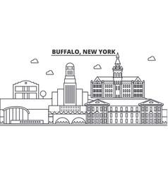 Buffalo new york architecture line skyline vector