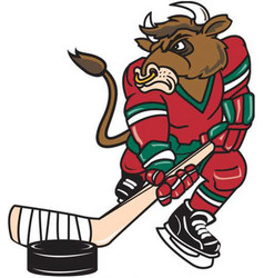 Bull hockey logo mascot vector
