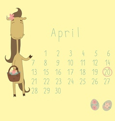 Calendar for April 2014 vector image
