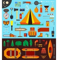 Camping equipment and tools vector