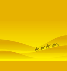 caravan in desert people on camels move on vector image