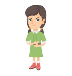 caucasian sad girl having stomach ache vector image