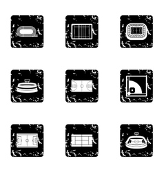 Championship icons set grunge style vector