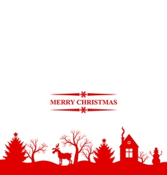 Christmas landscape red vector