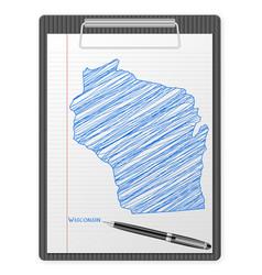 clipboard wisconsin map vector image