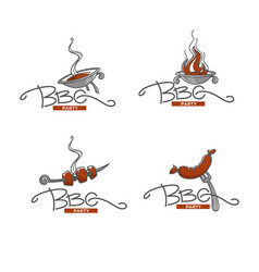 collection bbq logo labels symbols and vector image