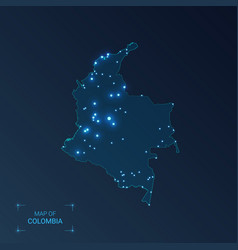 Colombia map with cities luminous dots - neon vector