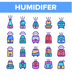 Color different humidifier icons set vector