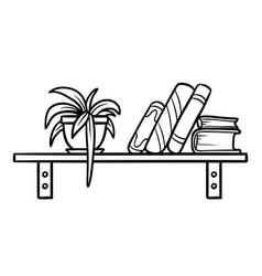 Coloring book bookshelf vector