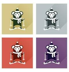 Concept of flat icons with long shadow monkey vector