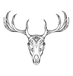 Contour a deer skull with antlers with boho vector