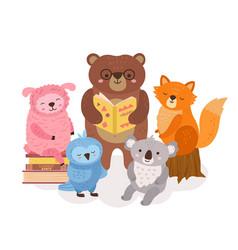 Cute animals reading wild animal read books vector