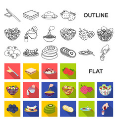 dessert fragrant flat icons in set collection for vector image