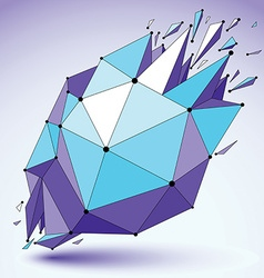 Dimensional blue wireframe object demolished shape vector