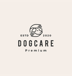 dog care hand hipster vintage logo icon vector image