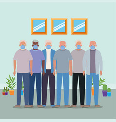 Elder men with masks against inside room covid 19 vector