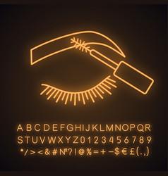 Eyebrows mascara neon light icon vector