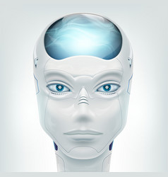 face robot android isolated on white background vector image