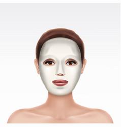 Face young girl applying cosmetic facial mask vector