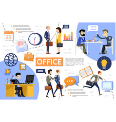 flat business office infographic template vector image