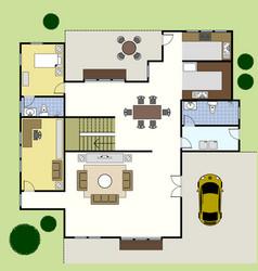 Floorplan architecture plan house ground floor vector