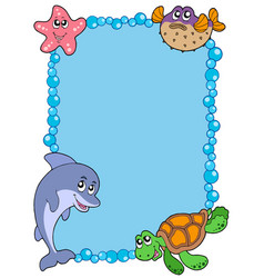 frame with sea animals 1 vector image