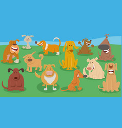 funny dogs cartoon animal characters group vector image