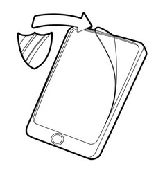 Gadget with tempered glass protection icon vector