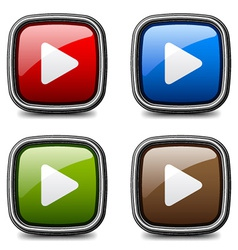 Glossy media play buttons vector