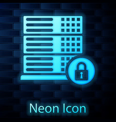 Glowing neon server security with closed padlock vector